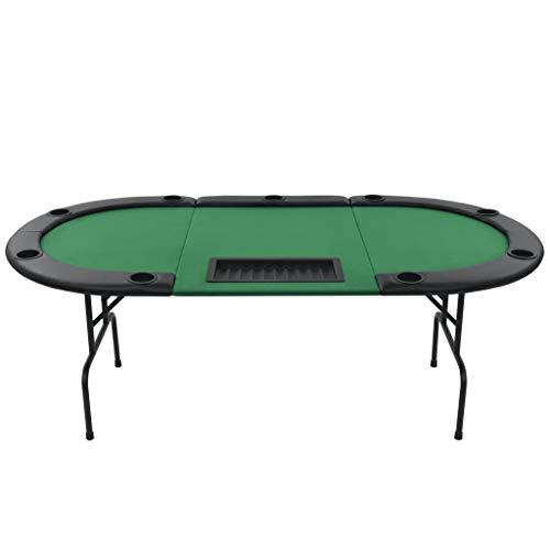 vidaXL Pokertisch 9-Spieler 3-Fach Klappbar Oval Grün Casino Poker Tisch - 4