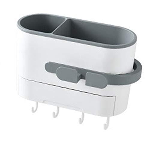 Gesh Soporte de pared para secador de pelo, soporte para baño, organizador de maquillaje, estante de plástico para secador de pelo, accesorio de baño, color gris claro