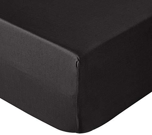 Amazon Basics – Satin-Spannbettlaken, 160 x 200 cm, schwarz