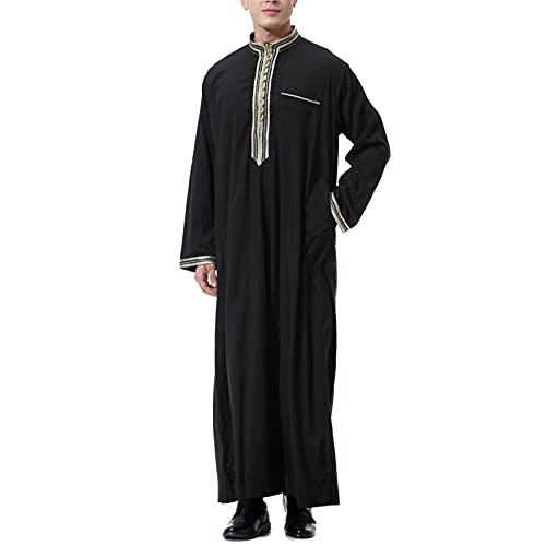 LZJDS Túnica Islámica India De Los Hombres Musulmanes Arabia Saudita Kaftan Túnica Pijamas Camisón,Negro,M