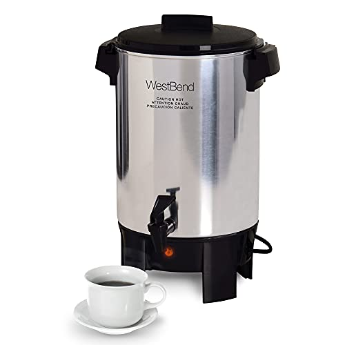 West Bend Highly Polished Aluminum Party Perk Coffee Urn Features Automatic Temperature Control Large Capacity with Quick Brewing Smooth Prep and Easy Clean Up NSF Certified, 30-cup, Silver