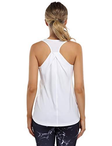 Clearlove Camiseta de tirantes para mujer para yoga, deporte, parte superior de fitness, parte superior de Raceback (embalaje múltiple), Blanco, L