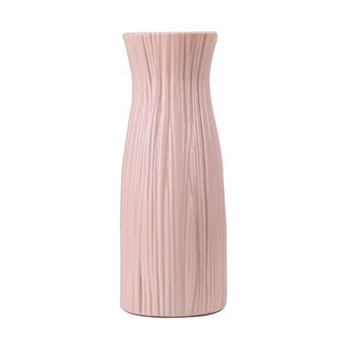 Kunststoff Blumenvase Töpfe Künstliche Blume Pflanze Container Holzmaserung Muster Hohe Vase Esszimmer Couchtisch Herzstück für Home Office Shops Garten Decor