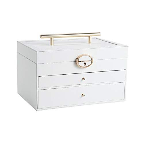 TXOZ - Caja organizadora de joyas de alta calidad para mujer, gran viaje, caja de almacenamiento con candado y llave para collares, pendientes, anillos, pulseras, joyero.