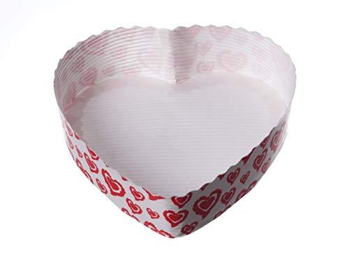 Pro DP 300 Einwegbackformen Herzbackformen Papierbackformen Einmal Backform Herz weiß mit Herzmotiv Herzform 13x3,5cm - Inkl. Verpackungslizenz in D.