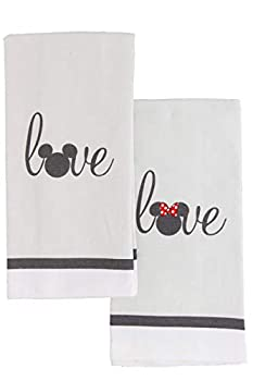 Disney 100% Cotton Kitchen Towels 2pk-Soft and Absorbent Decorative Kitchen Towels Perfect for Drying Dishes and Hands-Machine Washable Kitchen Towel Set 16 x 28 inches - Mickey and Minnie Love