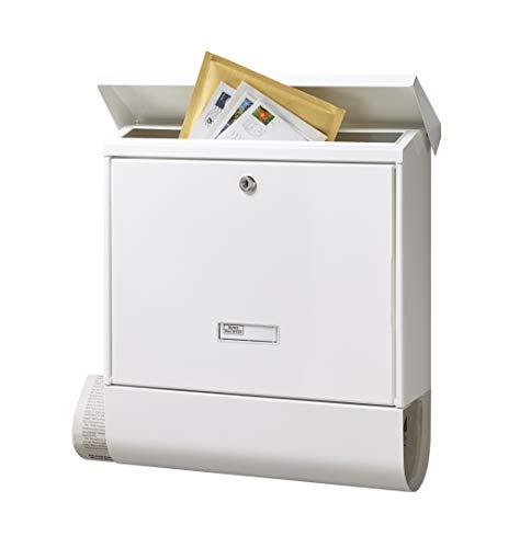 BURG-WÄCHTER Briefkasten mit Zeitungsfach und Namensschild, Verzinkter Stahl, Einwurf-Format DIN C4, Inkl. 2 Schlüssel, AMZ 2500 W, Weiß