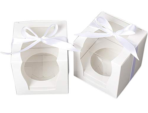 "ZEALAX White Single Cupcake Boxes Wedding Favor Paper Box Clear Window Cupcake Gift Box with Inserts and Ribbon, 12 Count, 3.5"" x 3.5"" x 3.5"""
