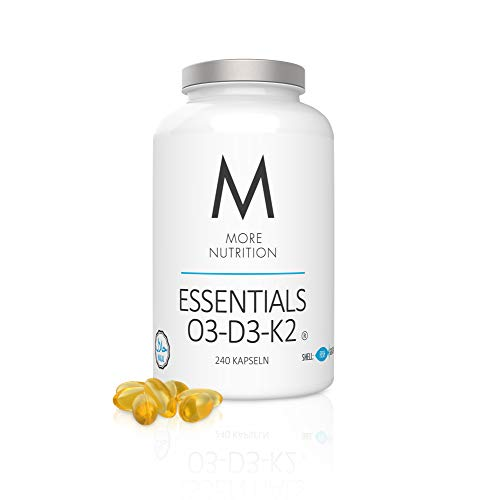 MORE NUTRITION Essentials O3-D3-K2 (1 x 240 Kapseln) - Vitamine mit Omega-3 Fettsäuren Fischöl Vegan (Kapselhülle aus Fischgelatine)