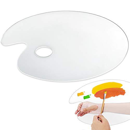 "Clear Plastic Paint Palettes - Big Size Non-Stick Acrylic Palette Oval Artist Paint Mixing Palette for Acrylic Oil Paints Mixing - Easy Clean (12"" x15.7"")"