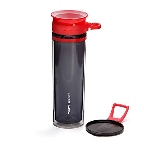 Wow Gear - Botella deportiva de doble pared de 360 ° – 600 ml (rojo)