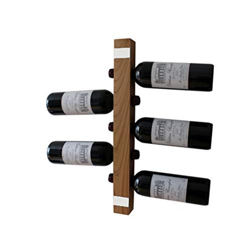 WEINREGALO Mini - Kirsche | Das Moderne Design Weinregal/Flaschenregal aus Holz für Ihre Wand (Flaschenregal für 5 Weinflaschen, 52 x 5 x 5 cm, dekorativ für Wohnzimmer oder Küche)