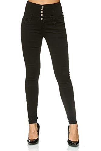 EGOMAXX Damen Skinny Jeans Hose High Waist Demin Stretch Shaping 5-Pocket Design, Farben:Schwarz, Größe:38