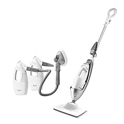 LIGHT 'N' EASY Multifunctional Steam Mop with Detachable Handheld Unit Floor Steamers Cleaner for Hardwood,Grout,Tile White, 7688ANW