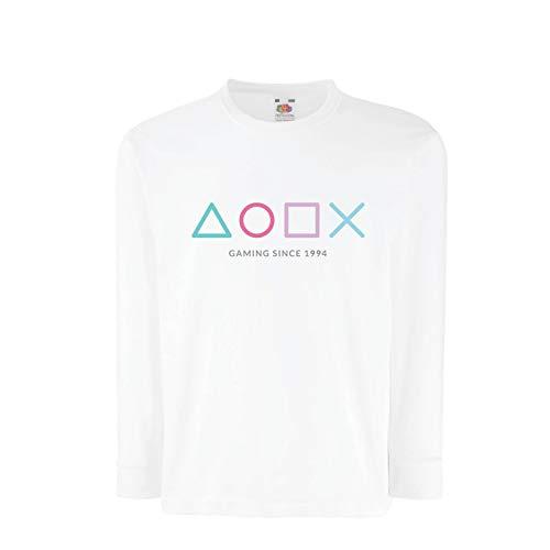 lepni.me Kinder-T-Shirt mit Langen Ärmeln Videospiel-Controller, Geschenk für Gamer, Gaming-Liebhaber-Bekleidung (5-6 Years Weiß Mehrfarben)