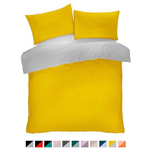 FAIRWAYUK Plain Duvet Cover and Pillow Case Set Reversible Quilt Easy Care Bedding (Ochre, King Bed)
