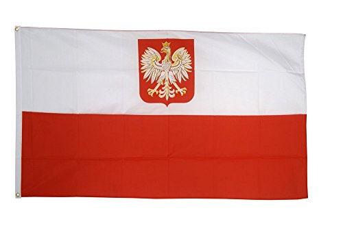 Flaggenfritze Fahne/Flagge Polen mit Adler polnische Fahne 90 x 150 cm + gratis Sticker