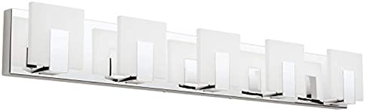 Aipsun 5 Lights Modern LED Bathroom Vanity Light Acrylic Stainless Steel Chrome Up and Down Bathroom Wall Light Over Mirror(White Light 6000K)