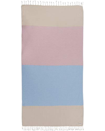 Sand Cloud Turkish Towel - Peshtemal Cotton - Great for Beach or as a Blanket - Waves (Beige)