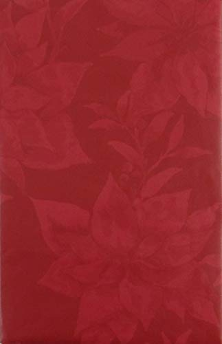 Happy Holiday Two Tone Poinsettias Among Christmas Foliage Vinyl Flannel Back Tablecloth (Red, 52' x 90' Oblong)
