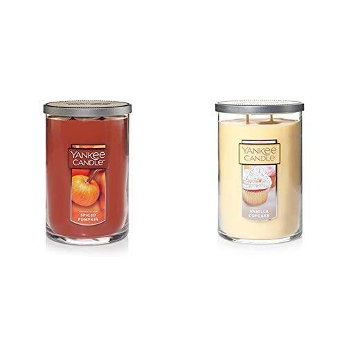 Yankee Candle Large 2-Wick Tumbler Candle, Spiced Pumpkin & Large 2-Wick Tumbler Candle, Vanilla Cupcake