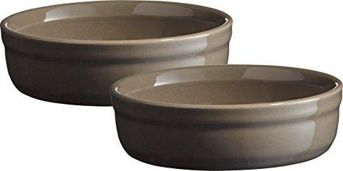 Emile Henry Eh954013 Set de 2 Moules à Crème Brûlée Céramique Gris Silex 13 X 13 X 3,5 cm