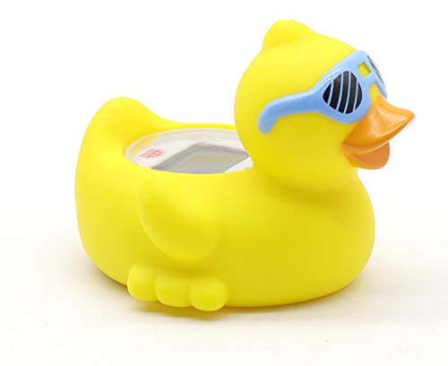 Baby Bathtub Thermometer, Infant Baby Bath Floating Duck with Blue Glasses Temperature Thermometer with Temperature Safety Indicator (Duck with Blue Glasses)