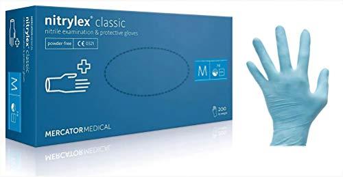 Nitrylex Classic Guanti in Nitrile Monouso, 100 Pezzi Box Senza Polvere, Colore Blu, Misura L