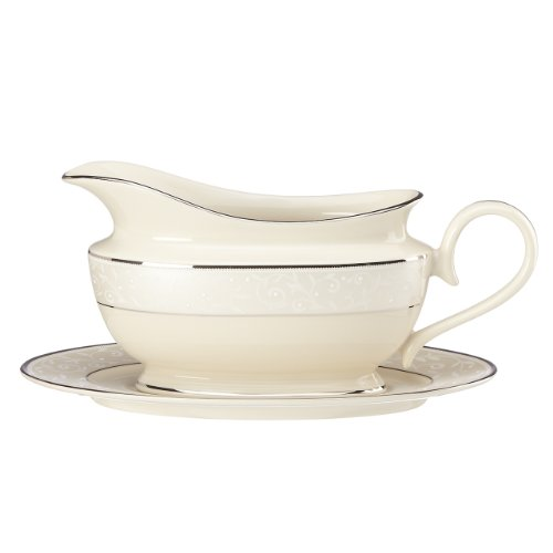 Lenox Pearl Innocence Gravy Boat and Stand, Sauce, Ivory