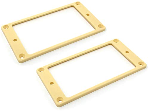 Vintage Forge Cream Humbucker Pickup Mounting Ring for Import Guitars 1/8 Inch (89mm x 45mm x 3mm) 2-pack Flat Bottom HR3300F-CRM