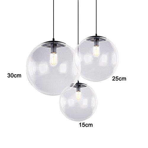 EasyGame Lampe à suspension en forme de boule en verre transparent industriel E27 (Φ30)