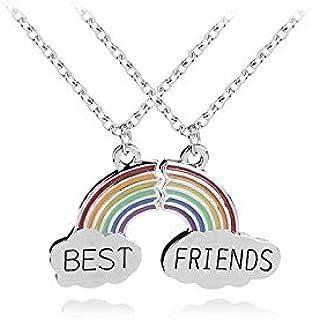 قلادة بيست فريندز 2 ، قزحي الألوان BFF لسن المراهقة مجموعة هدايا فضية على شكل قلب مكسور، قلادة بحروف محفورة ساحرة