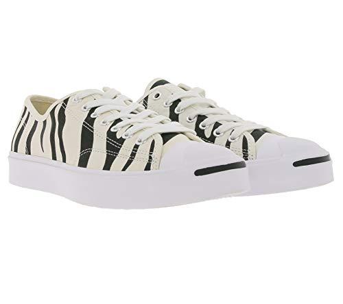 Converse Jack Purcell OX Canvas-Turnschuhe animalische Herren Sneaker im Zebra-Look Skater-Schuhe Freizeit-Schuhe Beige, Größe:42 1/2