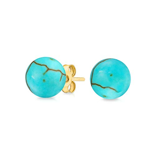 Simple Gemstone Stabilized Turquoise Round Ball Stud Earrings For Women Real 14K Yellow Gold 6MM December Birthstone