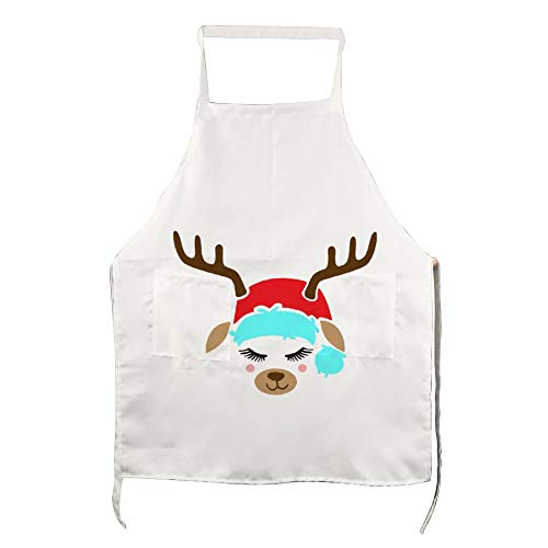 No brands Personalised Apron with Pockets Kitchen Apron Funny Cooking Apron Cute Reindeer Face Cooks Present, Bakers Present, Friend, Mum Present, Apron Cooking Gift Boyfriend Gift