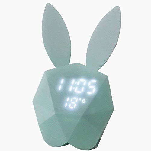 MkeDa LED Elektronischer Wecker Leuchtthermometer Hasenform Sprachgesteuerter Wecker, Grün