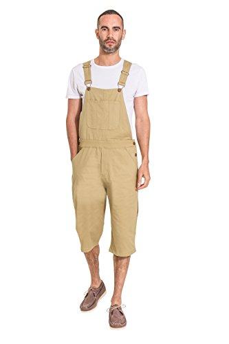 USKEES Loose fit Herren Latzhose Overall Shorts - Light Khaki Latz Shorts CHRISTOPHERSHORTBOA-38W