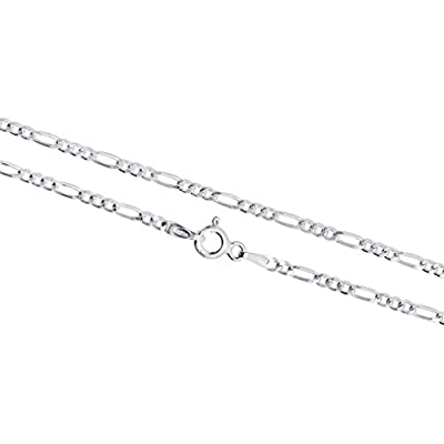 2.25mm Figaro Chain in Gold Plated Silver, Rose Gold Plated Silver & Sterling Silver 7-36 Inches