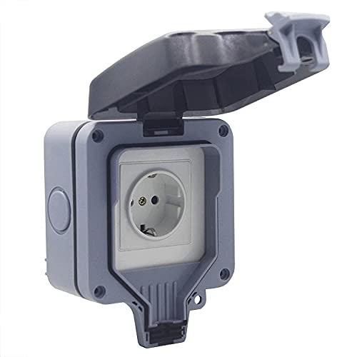 LMIX Enchufe exterior con tapa translúcida, cubos, protección de contacto, protección IP64, color gris claro