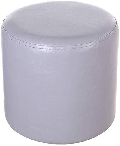 YLCJ ronde kruk van PU-leer, gevoerde voetenbank voor kaptafel en stoel, voor woonkamer, grijs Grijs