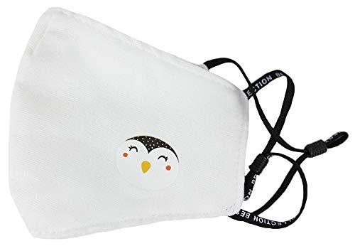 Trachtenland Kinder Mund Nase Maske mit Sticker - Gesichtsmaske Stoffmaske Baumwolle Unifarben Weiß