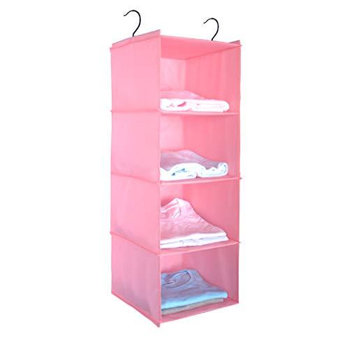 BrilliantJo Hängeregal Kleiderschrank Organizer, 4 Fächer hochwertige Hängeaufbewahrung mit Eisengestell Hängeregal Organizer Aufbewahrungssystem Set – Rosa