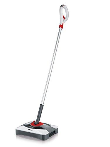 SEVERIN SQ 7200, Bürstkehrer, Lithium Sweeper, 1,5 kg, 360° Drehgelenk, 400 ml Kapazität, weiß/silber/rot