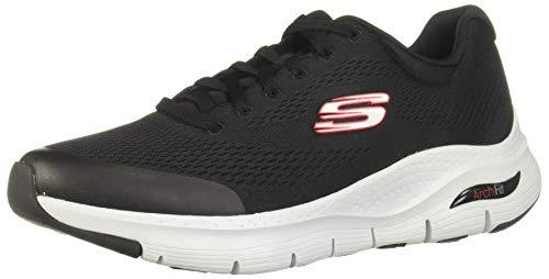 Skechers Arch Fit, Zapatillas Hombre, Negro (Black Red), 44 EU