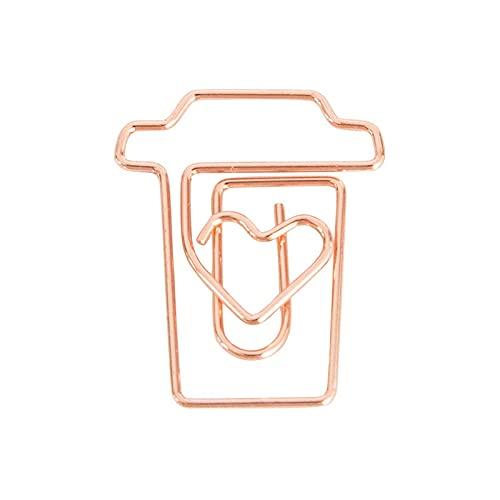 PPuujia Clip de papel de oro rosa clip de metal marcapáginas de metal, adecuado para libros, con forma de sobre, planificador de recortes (color: taza)