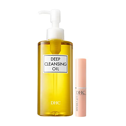 DHC Deep Cleansing Oil and Lip Cream, Facial Cleansing Oil, Makeup Remover, Hydrating, Moisturizing, Soothing, Set, Fragrance and Colorant Free, Ideal for all skin types, 6.7 fl. oz. and 0.05 oz.