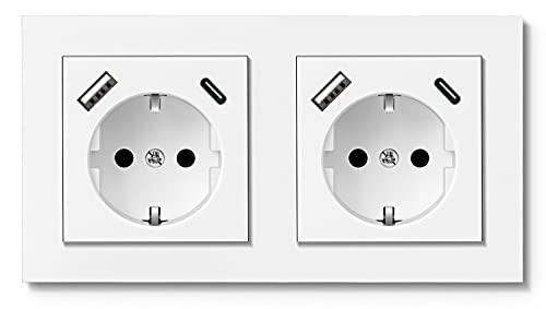 RAVPHICS Enchufe doble con 2 puertos USB y 2 puertos tipo C máx. 3,4 A, USB Schuko, enchufe de pared para 2 enchufes estándar, color blanco brillante, para iPhone, Huawei, Galaxy, tableta, etc.
