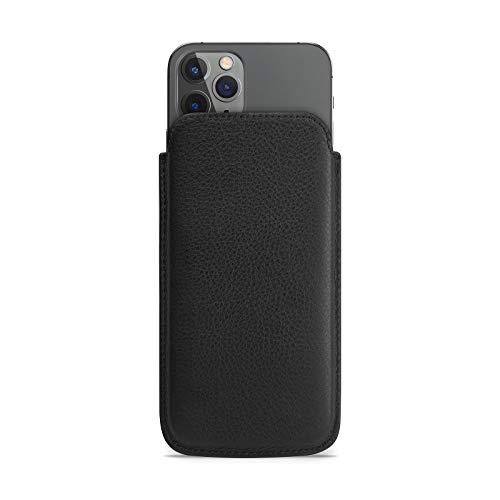WIIUKA Echt Ledertasche - Pure - für Apple iPhone 11 Pro & iPhone X/XS Hülle extra Dünn, kabellos Laden Qi, im Slim Fit Design, Schwarz, Premium Leder Tasche Hülle