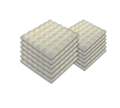 SK Studio Lot de 12 carrés de Panneau Mural Acoustique pyramidale Home Studio Traitement insonorisé Accessoires en Mousse 30x30x2.5cm, blanc