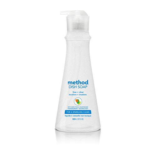 Method Dish Soap, Free + Clear, 18 Fl Oz, Pack of 6